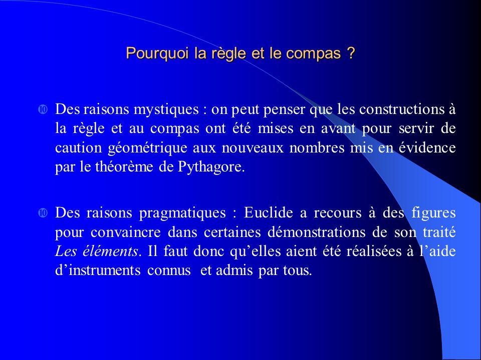 Le plus célèbre des grands problèmes Grecs est sans aucun doute celui de la quadrature du cercle.