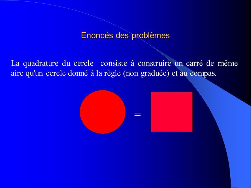 Enoncés des problèmes La duplication du cube consiste à construire à la règle et au compas larête dun cube dont le volume est deux fois plus grand qu un cube donné.