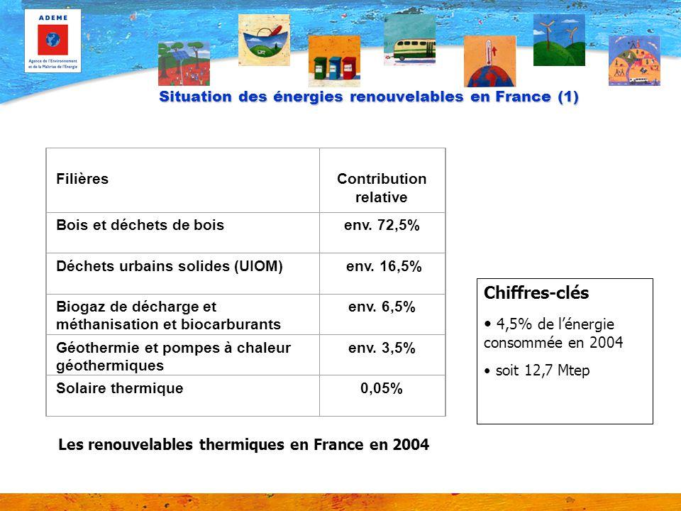 Situation des énergies renouvelables en France (2) Filières Contribution relative Hydraulique93,7% Déchets urbains solides (UIOM)2,9% Bois et déchets de bois2.4% Biogaz de décharge et méthanisation0,43% Eolien0,85% Géothermie0,032% Solaire photovoltaïque0,0015% Les énergies renouvelables électriques en France en 2004 (15% soit 5,7 Mtep)