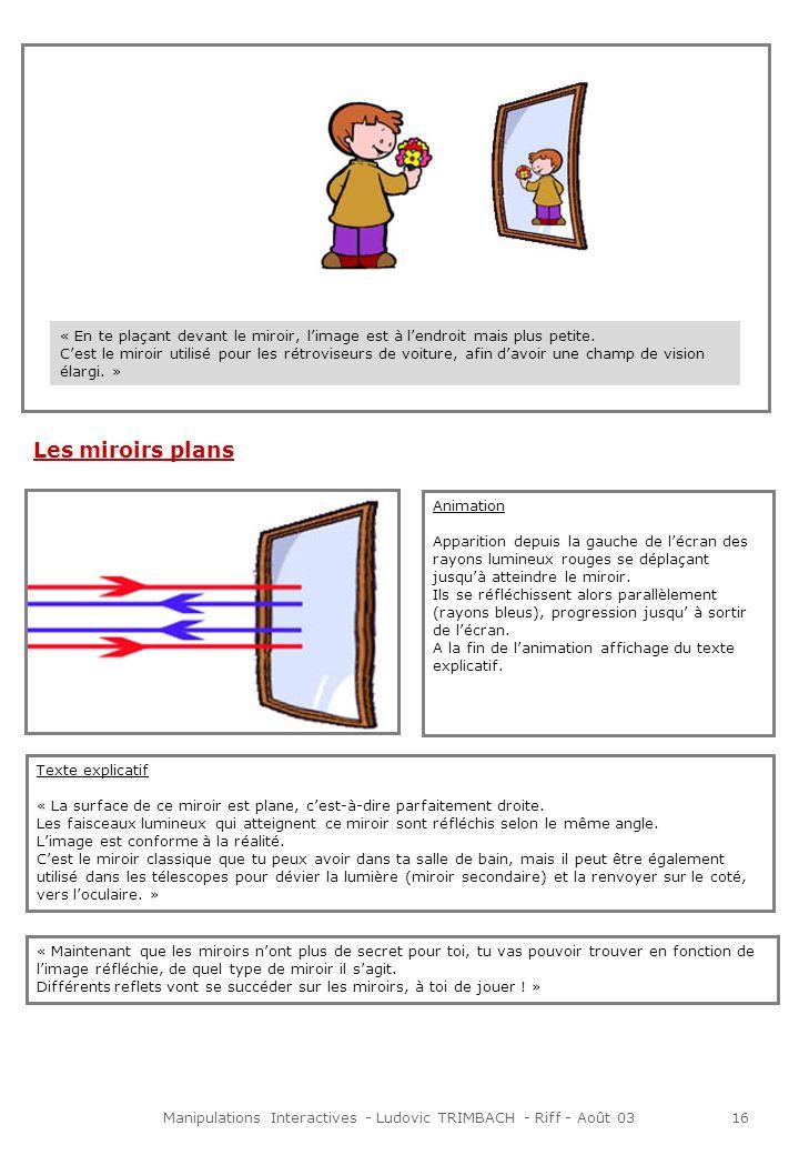 Manipulations Interactives - Ludovic TRIMBACH - Riff - Août 0317 Présentation à lécran Animation Lorsque linternaute clique sur la pomme celle-ci tombe au pied de larbre.