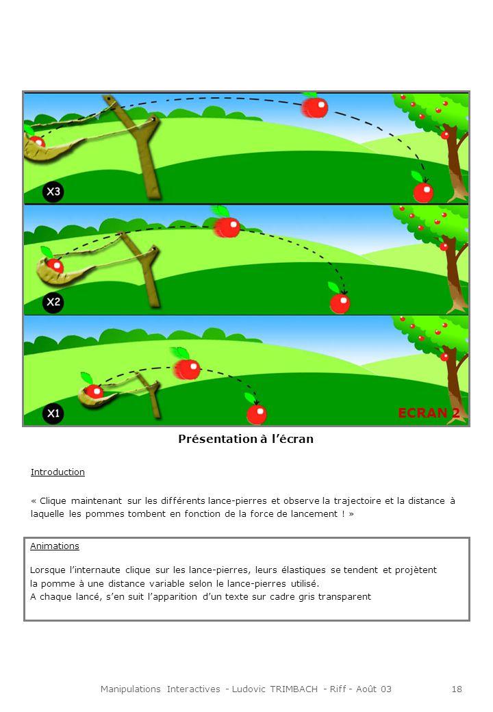 Manipulations Interactives - Ludovic TRIMBACH - Riff - Août 0319 « Lorsquon lance un corps parallèlement à la surface du sol, il est également soumis à cette force et il fini donc par retomber.