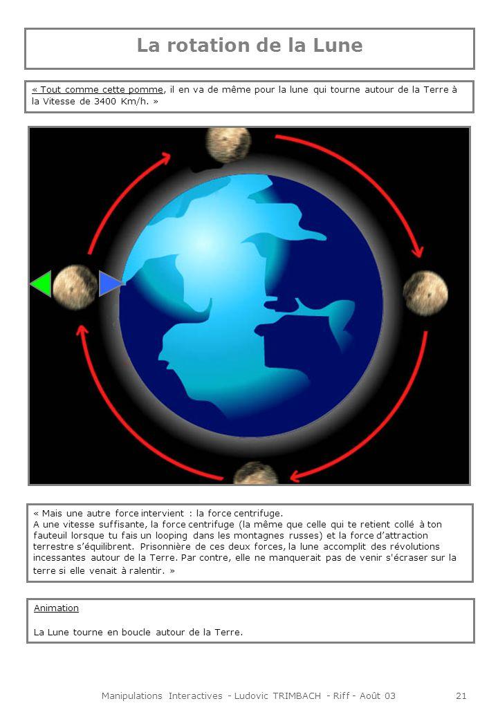 Manipulations Interactives - Ludovic TRIMBACH - Riff - Août 0322 Présentation à lécran « Maintenant que tu sais pourquoi la Lune tourne autour de la Terre, tu te demandes peut-être pourquoi elle nous apparaît tous les soirs différente.