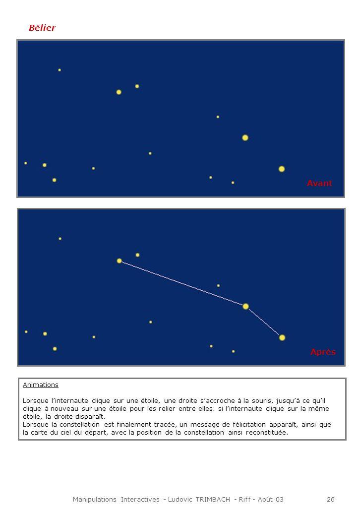Manipulations Interactives - Ludovic TRIMBACH - Riff - Août 0327 Cancer Petite Ourse Et ainsi de suite avec les autres constellations … Avant Après Avant Après