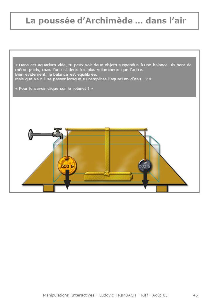 Manipulations Interactives - Ludovic TRIMBACH - Riff - Août 0346 Animation Lorsque lon clique sur le robinet, laquarium se remplit progressivement deau, et petit à petit la balance se déséquilibre.