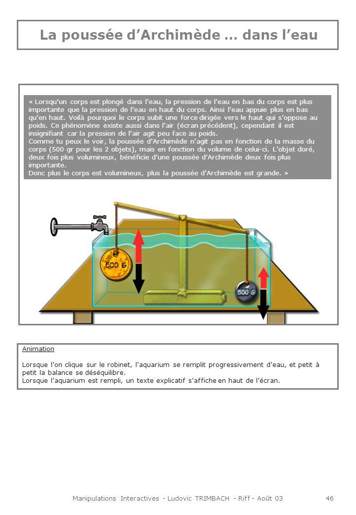 Manipulations Interactives - Ludovic TRIMBACH - Riff - Août 0347 La quantité dair qui fait pression au sommet du ballon est moins grande que la quantité dair qui fait pression à la base.