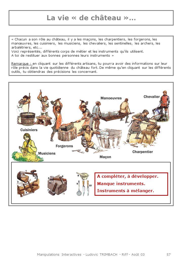 Manipulations Interactives - Ludovic TRIMBACH - Riff - Août 0358 Animations Lorsque linternaute clique sur un des corps de métiers, une bulle souvre, précisant leur rôle, leurs types dactivités ou leur méthode de travail.