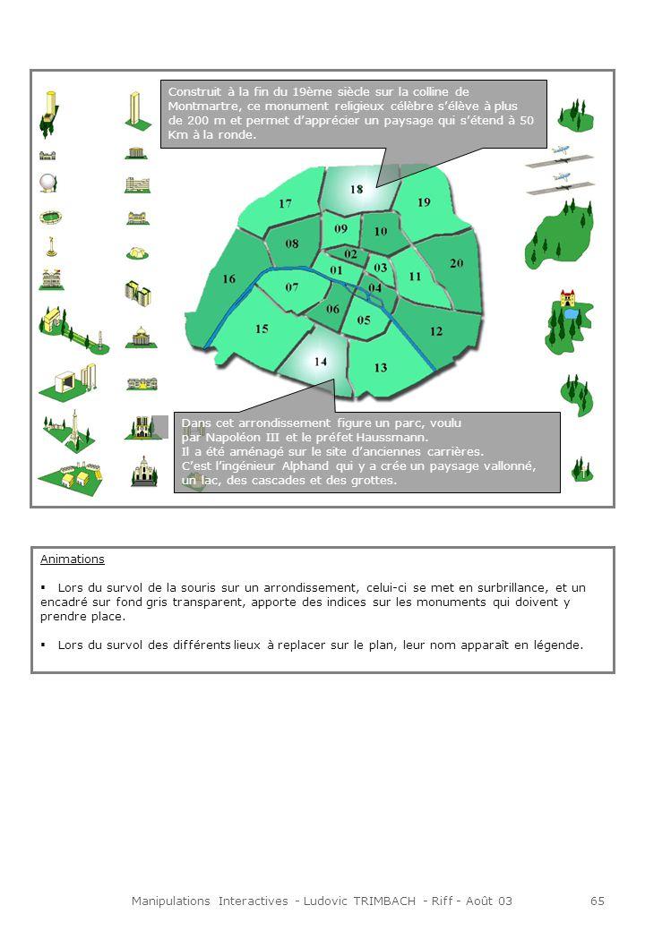 Manipulations Interactives - Ludovic TRIMBACH - Riff - Août 0366 Pour en savoir plus … Introduction « Maintenant que tu as retrouvé les emplacements des différents lieux de la capitale, tu vas pouvoir les découvrir plus en détail.