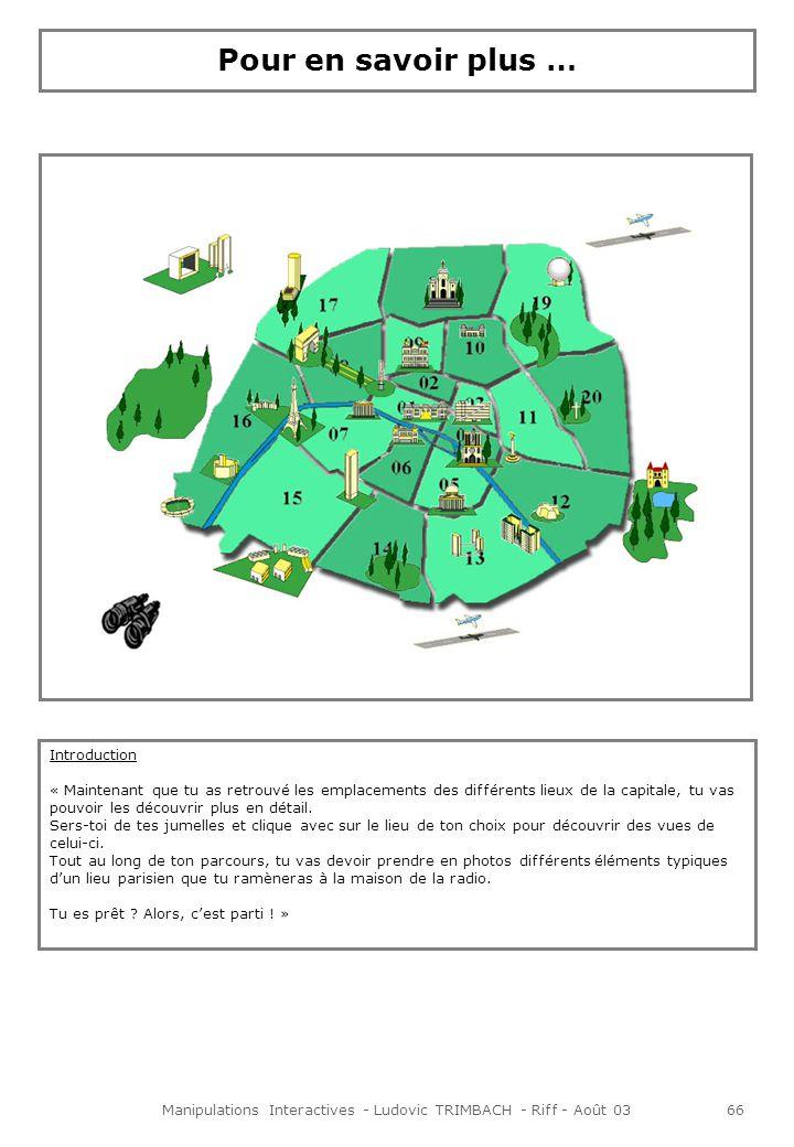 Manipulations Interactives - Ludovic TRIMBACH - Riff - Août 0367 Animations Lorsque lon clique avec les jumelles sur un lieu, un écran apparaît et différentes vues légendées du lieu en question sont disponibles.