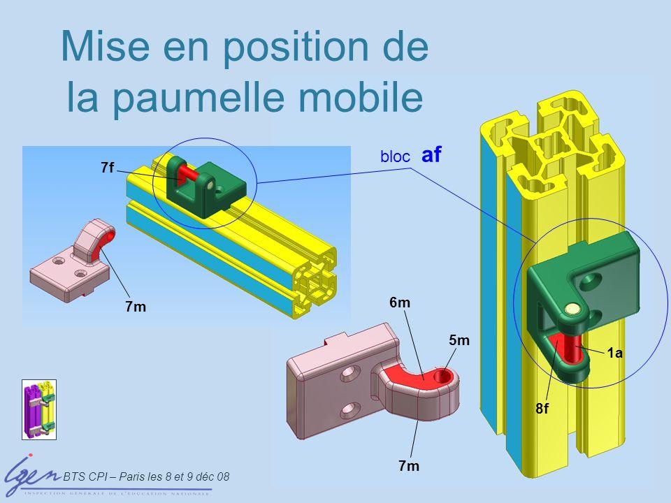 BTS CPI – Paris les 8 et 9 déc 08 PièceRepèreÉtatAuteur Paumelle mobile m1 Cylindre Plans // symétriques 5m6m-7m jeu 1a7f-8f PrimaireSecondaireTertiaire type surface Tableau de mise en position de la paumelle mobile 1a 8f 5m 7m 6m 7f interface