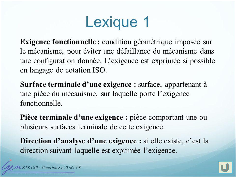 BTS CPI – Paris les 8 et 9 déc 08 Lexique 2 Jonction : association de surfaces qui assurent le positionnement relatif des pièces en contact (les jonctions sont indépendantes des exigences).