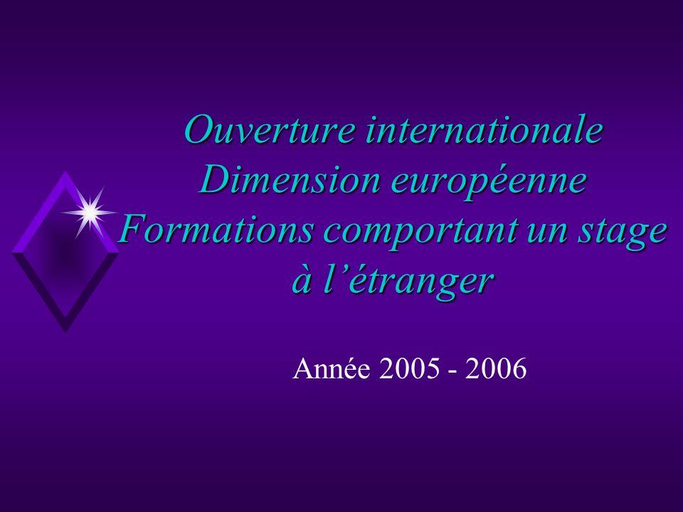 Ouverture internationale Dimension européenne Formations comportant un stage à létranger Année 2005 - 2006