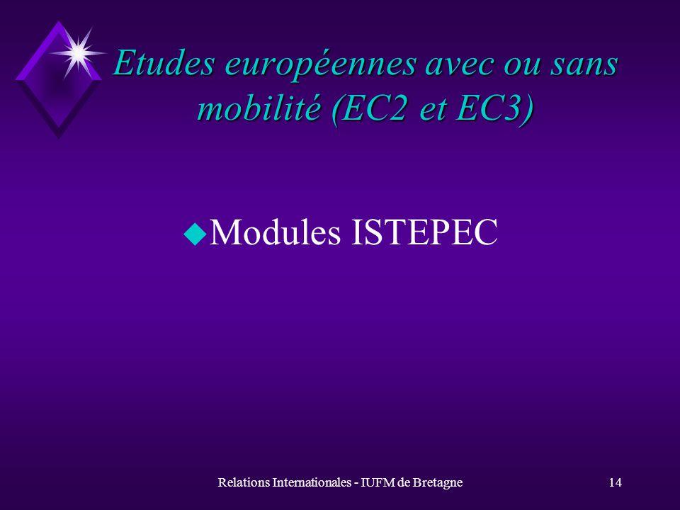 Relations Internationales - IUFM de Bretagne14 Etudes européennes avec ou sans mobilité (EC2 et EC3) u Modules ISTEPEC