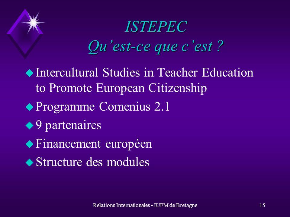 Relations Internationales - IUFM de Bretagne15 ISTEPEC Quest-ce que cest .