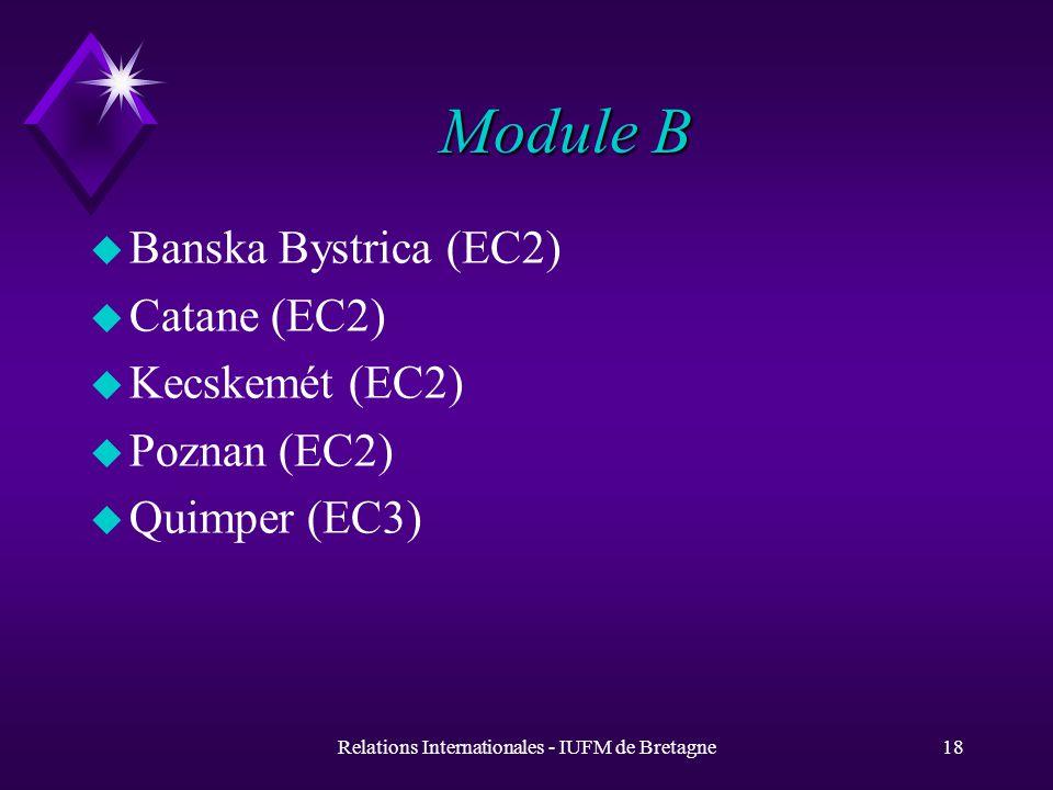 Relations Internationales - IUFM de Bretagne18 Module B u Banska Bystrica (EC2) u Catane (EC2) u Kecskemét (EC2) u Poznan (EC2) u Quimper (EC3)