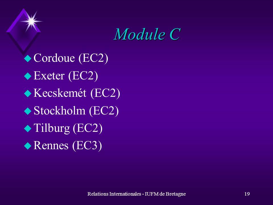 Relations Internationales - IUFM de Bretagne19 Module C u Cordoue (EC2) u Exeter (EC2) u Kecskemét (EC2) u Stockholm (EC2) u Tilburg (EC2) u Rennes (EC3)