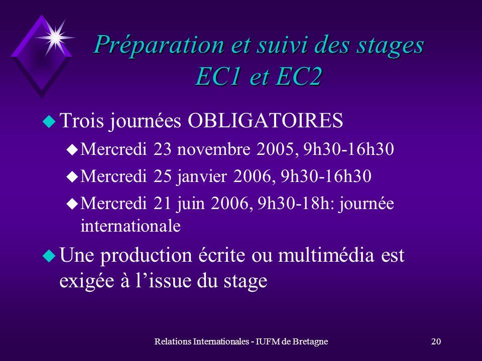 Relations Internationales - IUFM de Bretagne20 Préparation et suivi des stages EC1 et EC2 u Trois journées OBLIGATOIRES u Mercredi 23 novembre 2005, 9h30-16h30 u Mercredi 25 janvier 2006, 9h30-16h30 u Mercredi 21 juin 2006, 9h30-18h: journée internationale u Une production écrite ou multimédia est exigée à lissue du stage