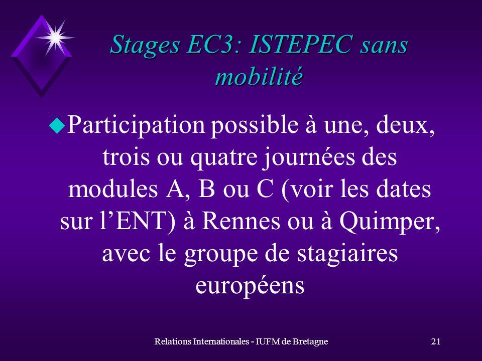 Relations Internationales - IUFM de Bretagne21 Stages EC3: ISTEPEC sans mobilité u Participation possible à une, deux, trois ou quatre journées des modules A, B ou C (voir les dates sur lENT) à Rennes ou à Quimper, avec le groupe de stagiaires européens