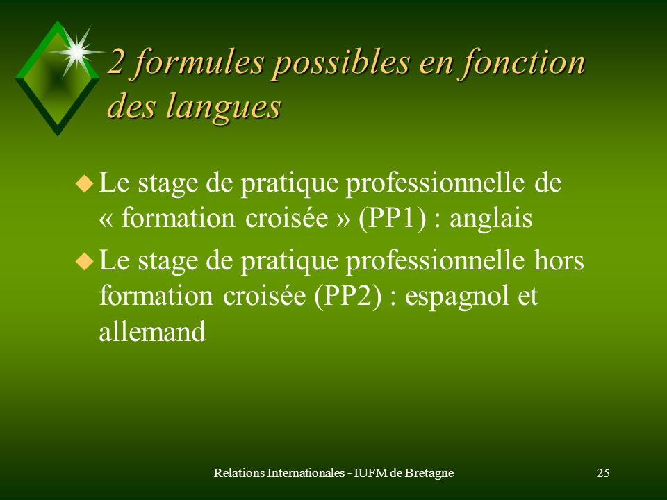Relations Internationales - IUFM de Bretagne25 2 formules possibles en fonction des langues u Le stage de pratique professionnelle de « formation croisée » (PP1) : anglais u Le stage de pratique professionnelle hors formation croisée (PP2) : espagnol et allemand