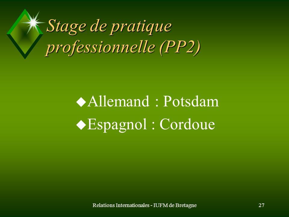 Relations Internationales - IUFM de Bretagne27 Stage de pratique professionnelle (PP2) u Allemand : Potsdam u Espagnol : Cordoue