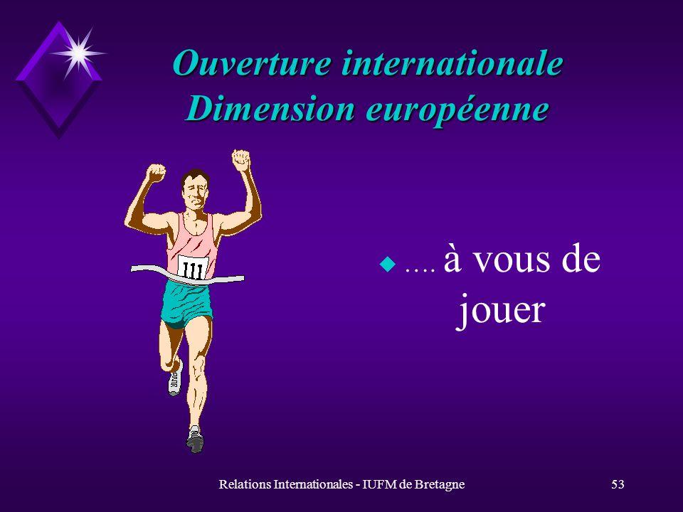 Relations Internationales - IUFM de Bretagne53 Ouverture internationale Dimension européenne u ….