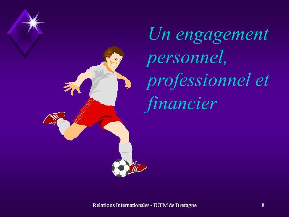 Relations Internationales - IUFM de Bretagne8 Un engagement personnel, professionnel et financier
