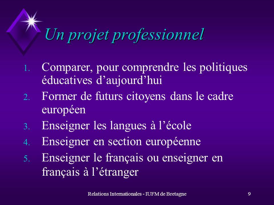 Relations Internationales - IUFM de Bretagne9 Un projet professionnel 1.