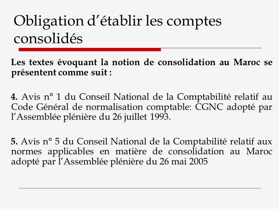 Obligation détablir les comptes consolidés Les textes évoquant la notion de consolidation au Maroc se présentent comme suit : 6.
