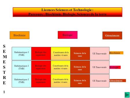 SEMESTRE 1 Licences Sciences et Technologie :