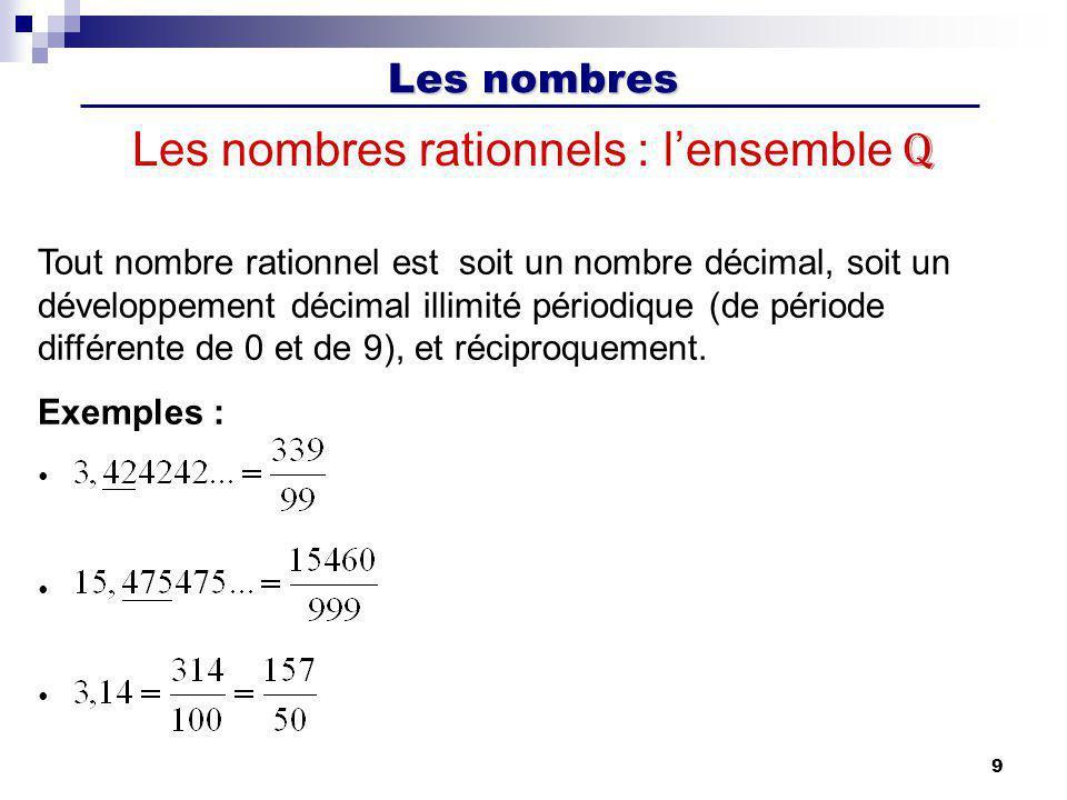 Les nombres 10 Les nombres réels : lensemble R R est une extension de Q.