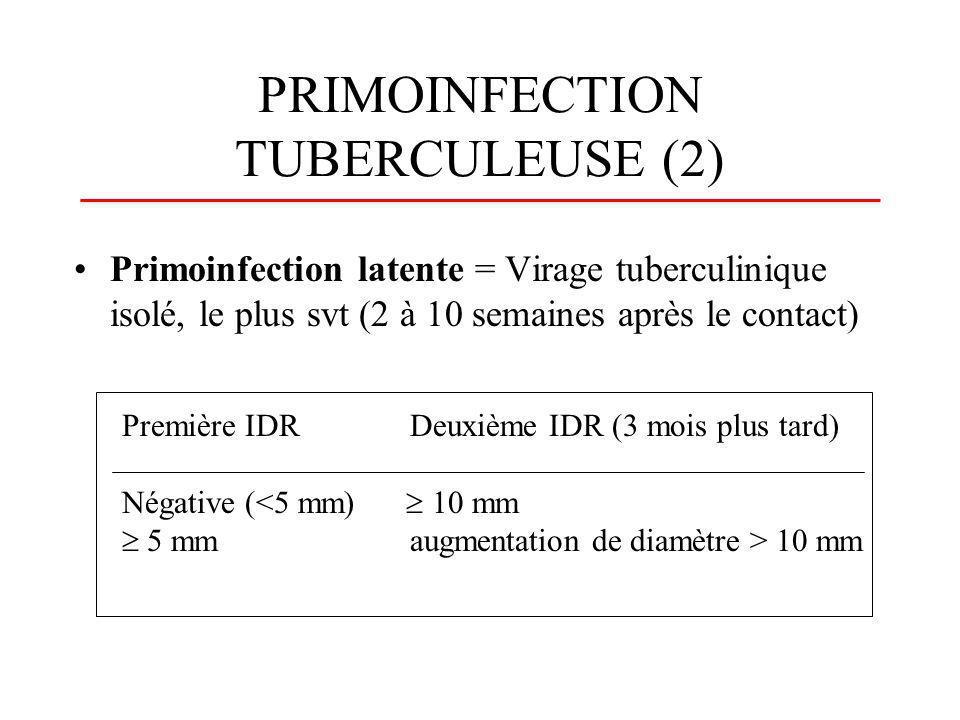 PRIMOINFECTION TUBERCULEUSE (3) Primoinfection patente = primoinfection symptomatique + virage tuberculinique : - respiratoire : atteinte gangliopulmonaire radiologique, toux, (fièvre, AEG) - digestif: diarrhée fébrile - cutanée : erythème noueux - occulaire : kératoconjonctivite