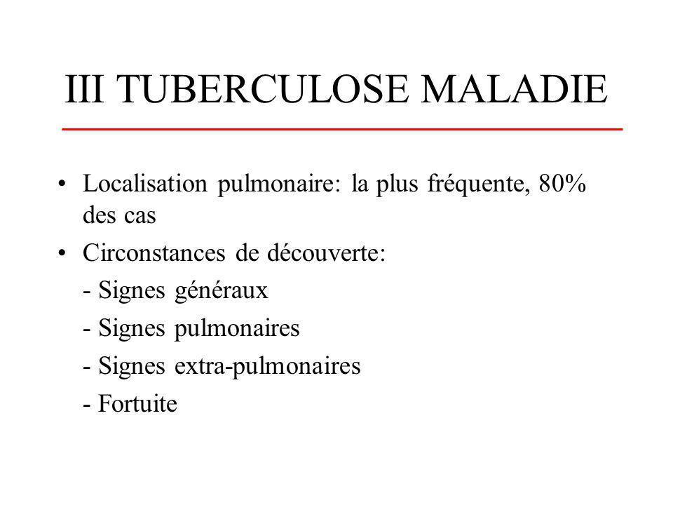 PHYSIOPATHOLOGIE A partir du foyer primaire: 1/ le BK est détruit par le système immunitaire 2/ le BK se multiplie et la tuberculose se développe 3/ le BK devient dormant et le sujet est asymptomatique 4/ le BK prolifère après une période de latence (réactivation)