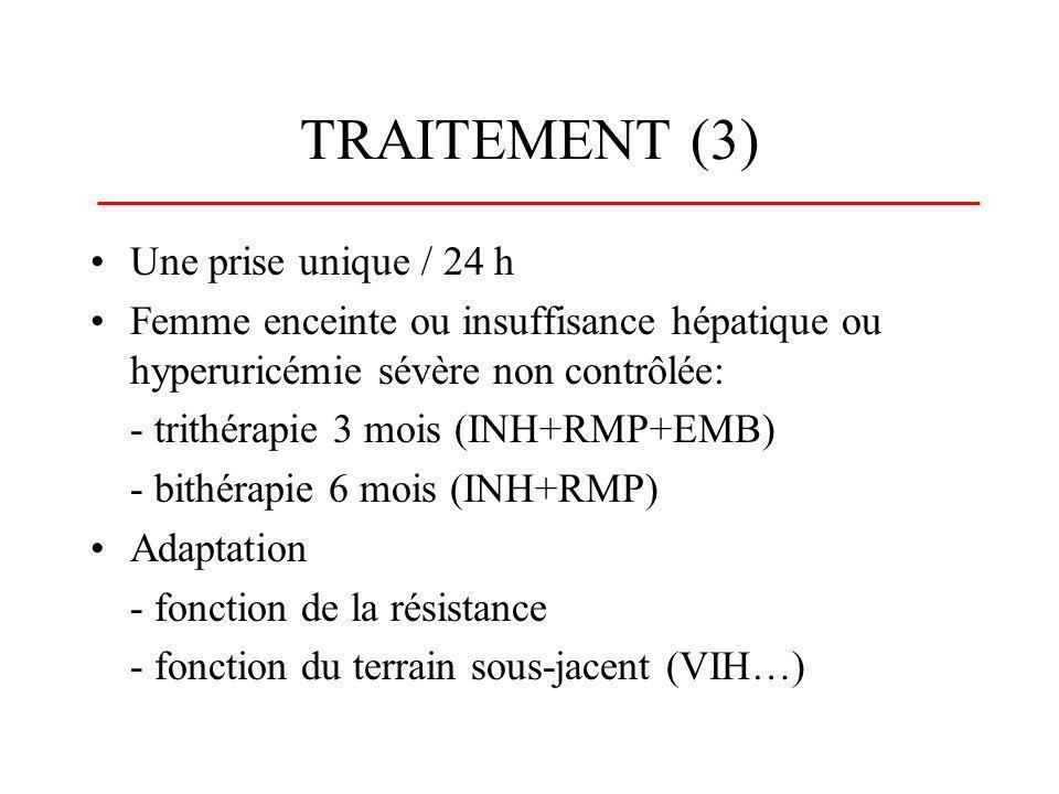 TRAITEMENT (4) Surveillance - observance: interrogatoire, sécrétions rouges (RMP), élévation de lurée (PZA) - tolérance: interrogatoire, bilan hépatique hebdomadaire, examen ophtalmologique (EMB), examen neurologique (INH) - efficacité : fièvre, toux, poids, BK- interactions médicamenteuses avec la RMP (puissant inducteur enzymatique) !