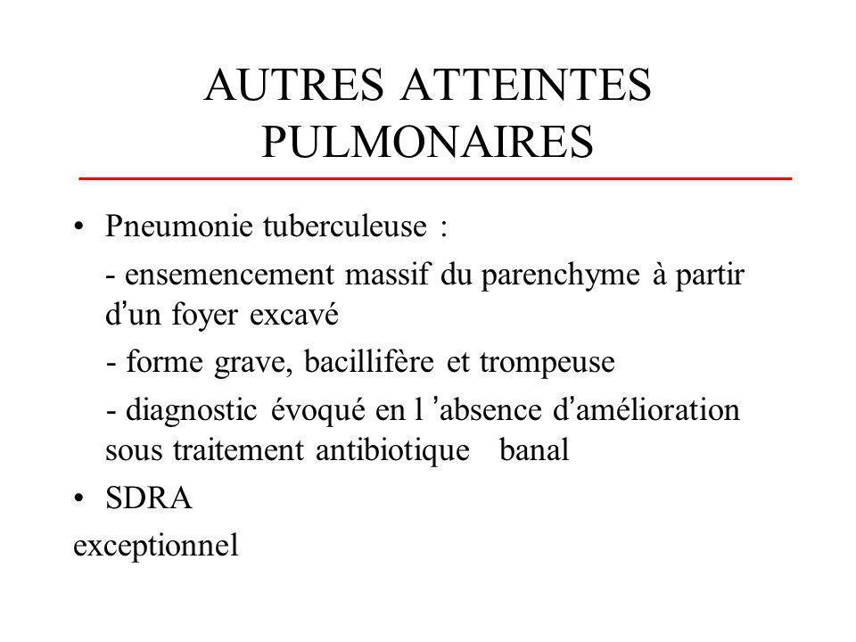 LOCALISATIONS EXTRA- PULMONAIRES (1) Séreuses : - atteinte pleurale (10 à 15% des cas) effraction plèvre / foyer parenchymateux sous-pleural liquide sérofibrineux, exsudatif, lymphocytaire, avec rares BK, follicules au niveau de la plèvre) - pyothorax tuberculeux ouverture dans la plèvre d une cavité tuberculeuse - péricardite tuberculeuse