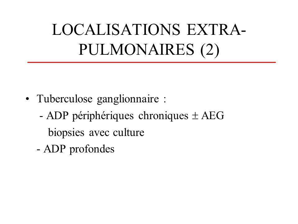 LOCALISATIONS EXTRA- PULMONAIRES (3) Hépatique Rénale Urogénitale (uretère, épididyme, trompes, utérus) Méningée ou méningocérébrale Iléale ou iléocaecale Stomatologique et ORL Os et articulations : Mal de pott (spondylodiscite tuberculeuse) Médullaire