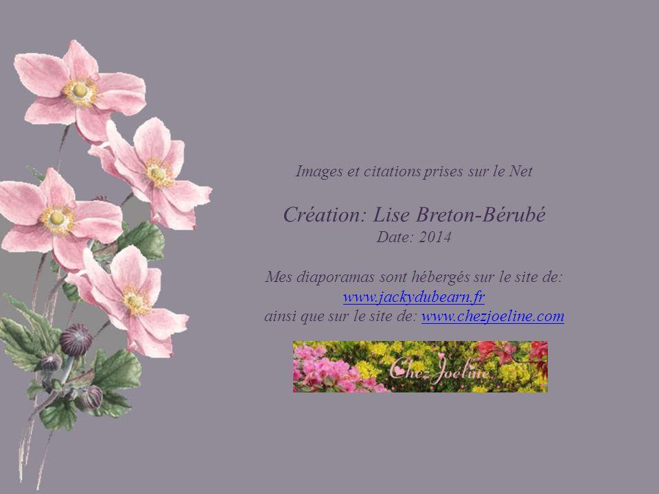 Images et citations prises sur le Net Création: Lise Breton-Bérubé Date: 2014 Mes diaporamas sont hébergés sur le site de: www.jackydubearn.fr www.jackydubearn.fr ainsi que sur le site de: www.chezjoeline.comwww.chezjoeline.com