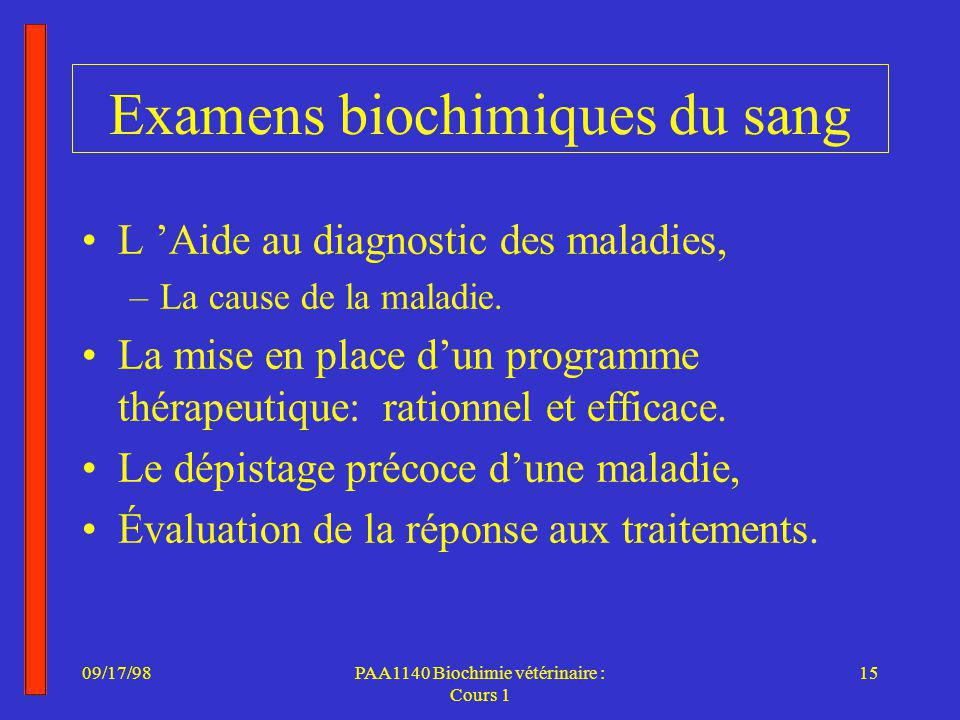 09/17/9816PAA1140 Biochimie vétérinaire : Cours 1 Intoxication d un épagneul au warfarin Introduction Mise en situation –Abattement depuis la veille - les voisins Examen clinique –Muqueuses pâles, dyspnée- T 38,8 0 C Diagnostic provisoire : –Intoxication aux rodenticides anticoagulants