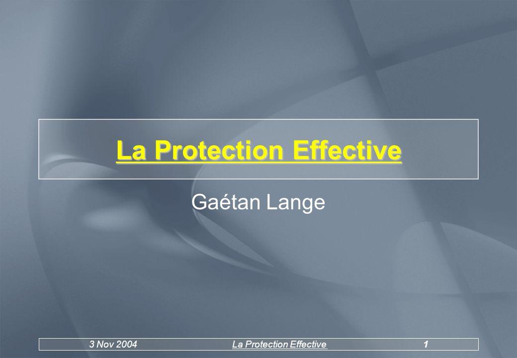 3 Nov 2004La Protection Effective2 PLAN o1.Introduction o2.