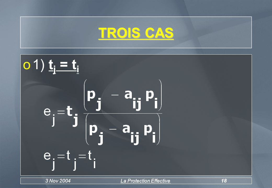 3 Nov 2004La Protection Effective19 o2) t j >t i On peut écrire t i = t j - c avec c>0 e j > t j > t i