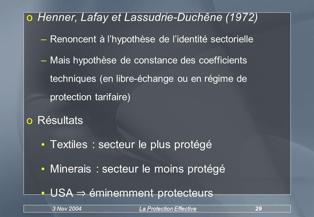 3 Nov 2004La Protection Effective30 taux USA > CEEtaux USA = CEEtaux USA < CEE oMat.