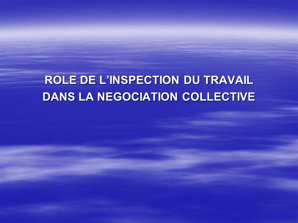 Le rôle de linspection du travail dans la négociation collective se résume en lassistance des parties.