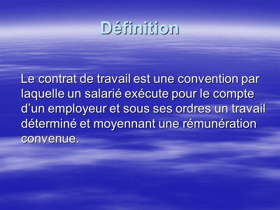 On voit que cette définition met en évidence les trois éléments fondamentaux qui caractérisent le contrat de travail : On voit que cette définition met en évidence les trois éléments fondamentaux qui caractérisent le contrat de travail : la prestation de travail, la rémunération, et le lien de subordination.