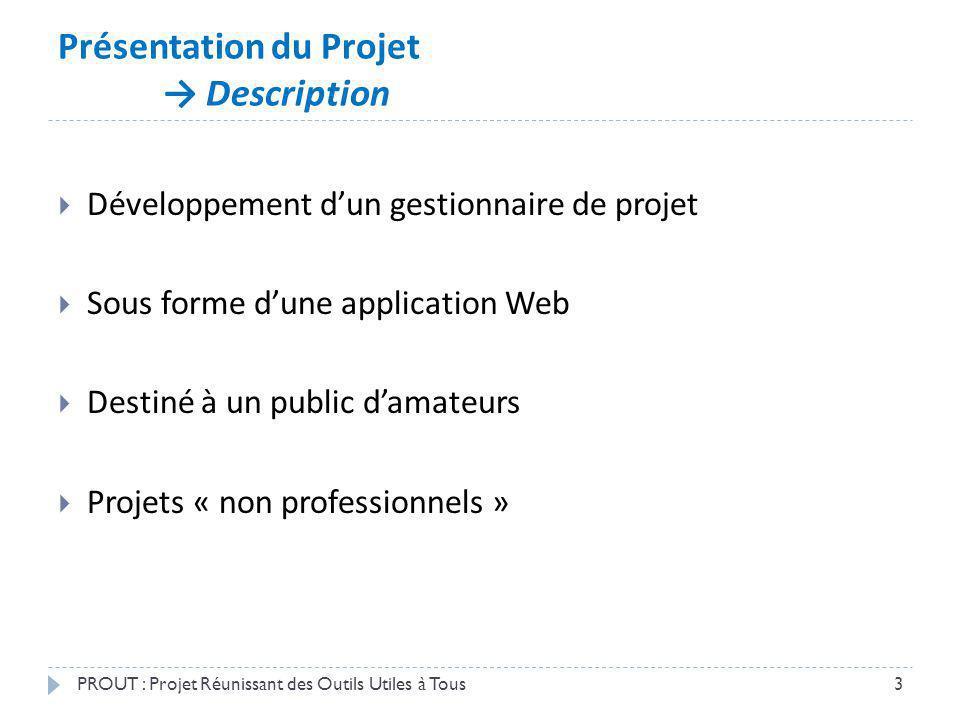 Présentation du Projet LÉquipe de développement PROUT : Projet Réunissant des Outils Utiles à Tous4 Chef du projet (plébiscité) : Benjamin « Is there a pilot on board ?.