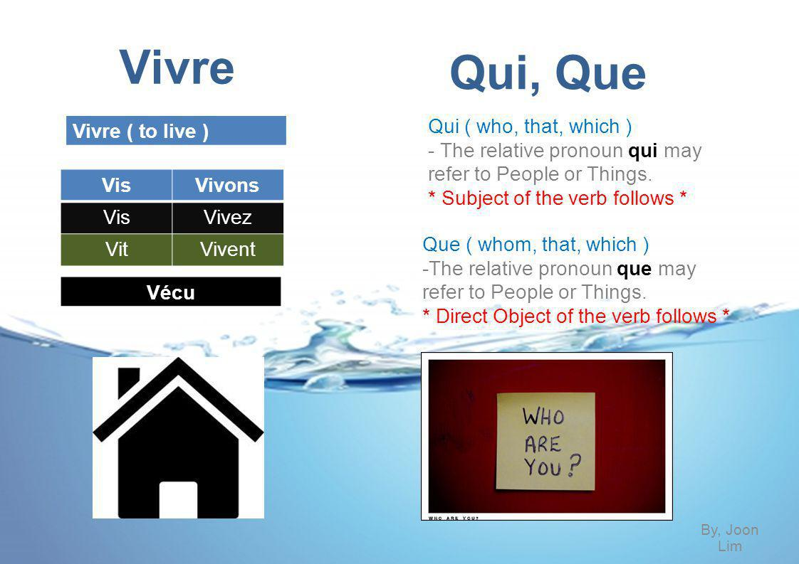 Vivre ( to live ) Vivre is one of the irregular verb.