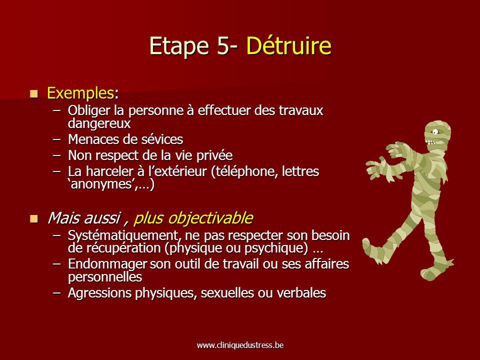 www.cliniquedustress.be Le processus du harcèlement moral b) Psychologie sociale Atteinte identitaire Atteinte identitaire –« Que faites-vous dans la vie.