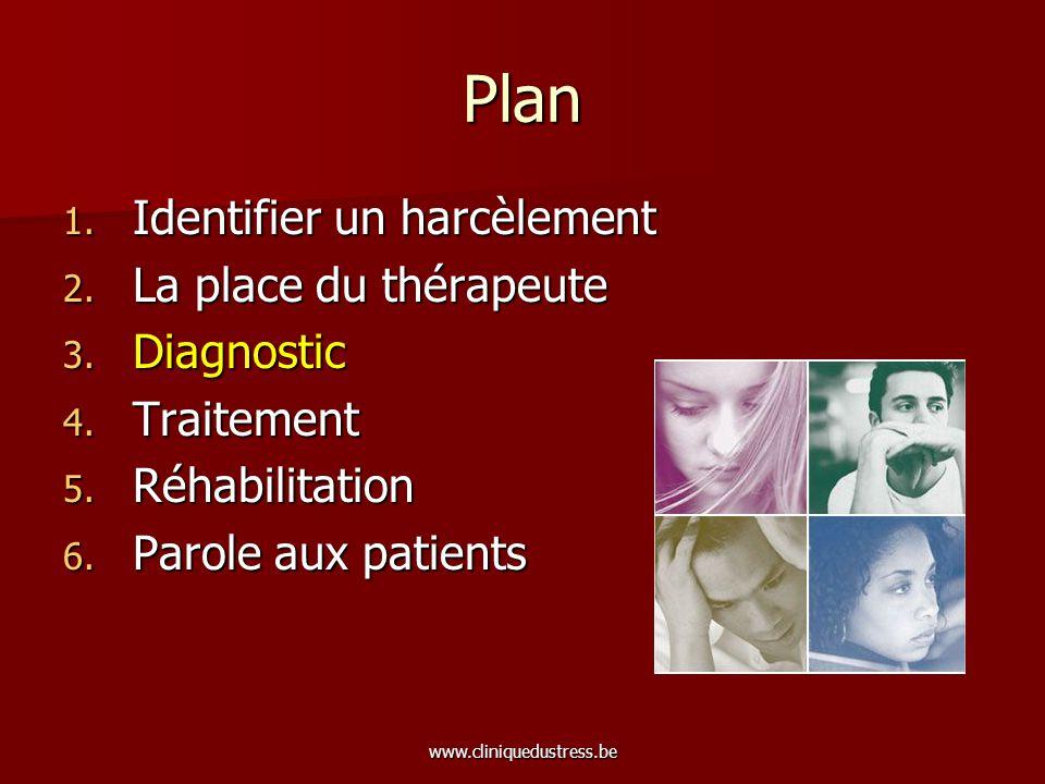 www.cliniquedustress.be Tableau clinique Phase 1: alerte Phase 1: alerte –La victime ne comprend pas ce qui lui arrive, ce qui lempêche de réagir de manière adaptée, elle ne saperçoit pas quelle est manipulée.