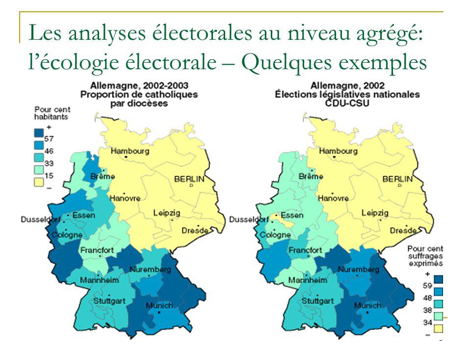 6 Ecologie électorale – quelques exemples (II)