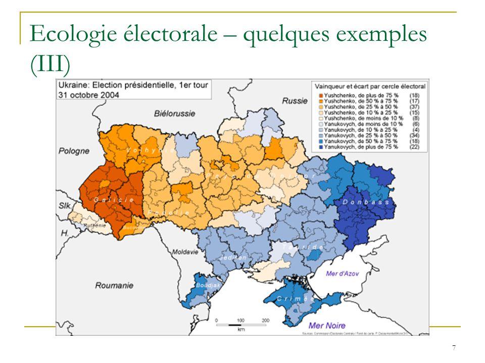 8 Ecologie électorale – quelques exemples (IV)