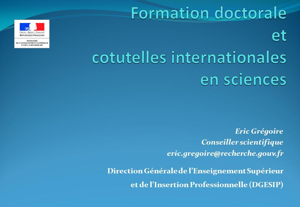 Formation doctorale et cotutelles internationales en sciences 1.