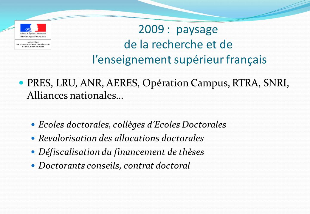 2009 Formation doctorale Quelques chiffres clés