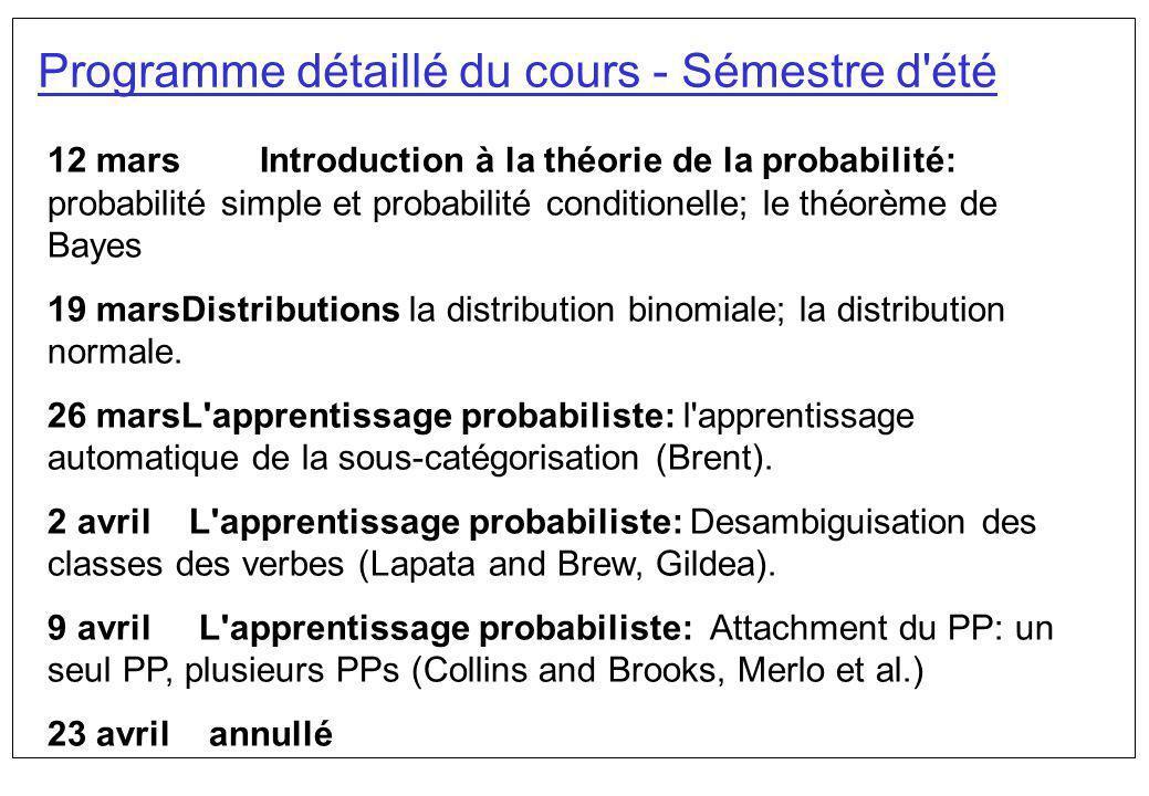 Programme détaillé du cours - Sémestre d été 30 avril L analyse syntaxique probabiliste: PCFGs.